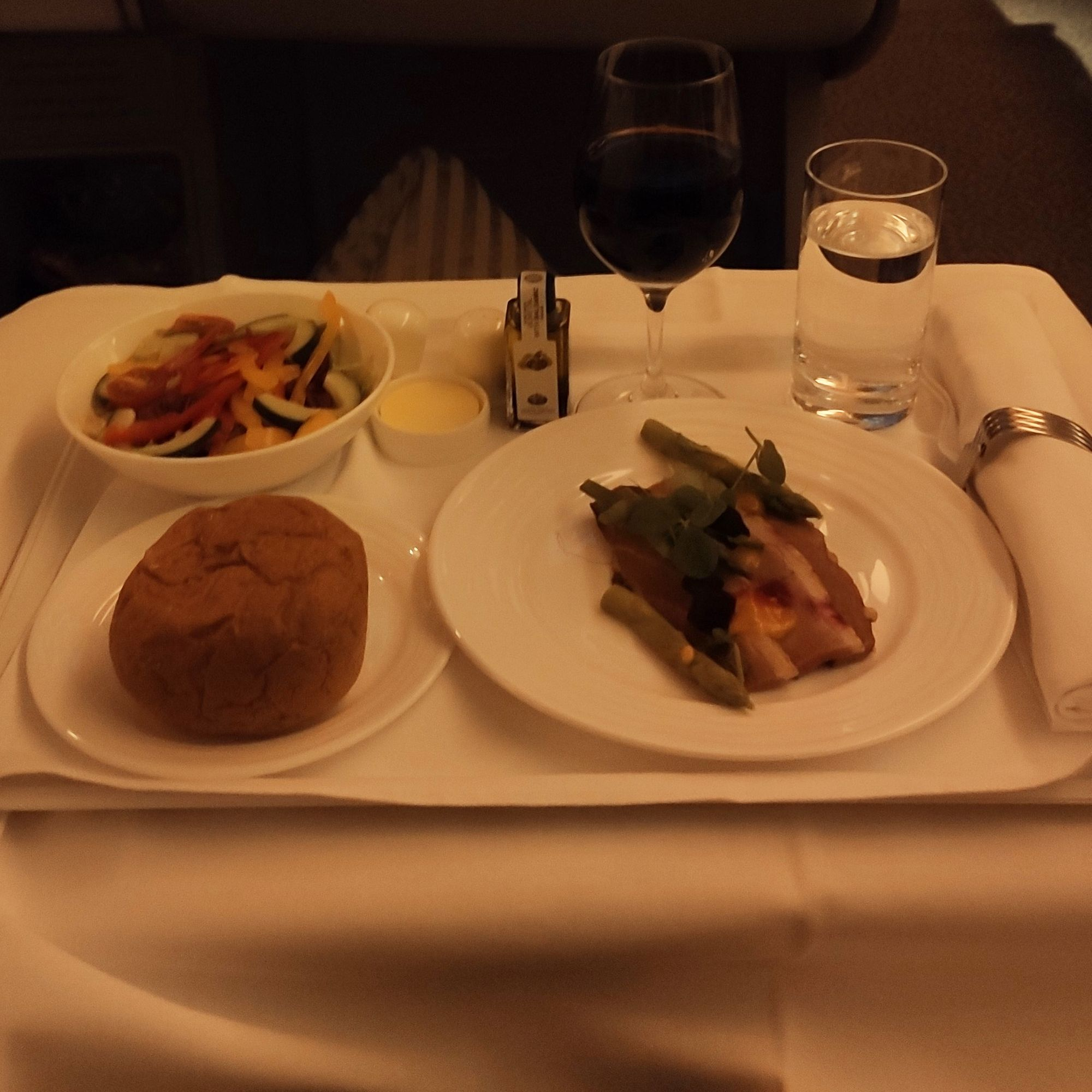 Image of food server during the flight with proper ceramic plates and good cutlery